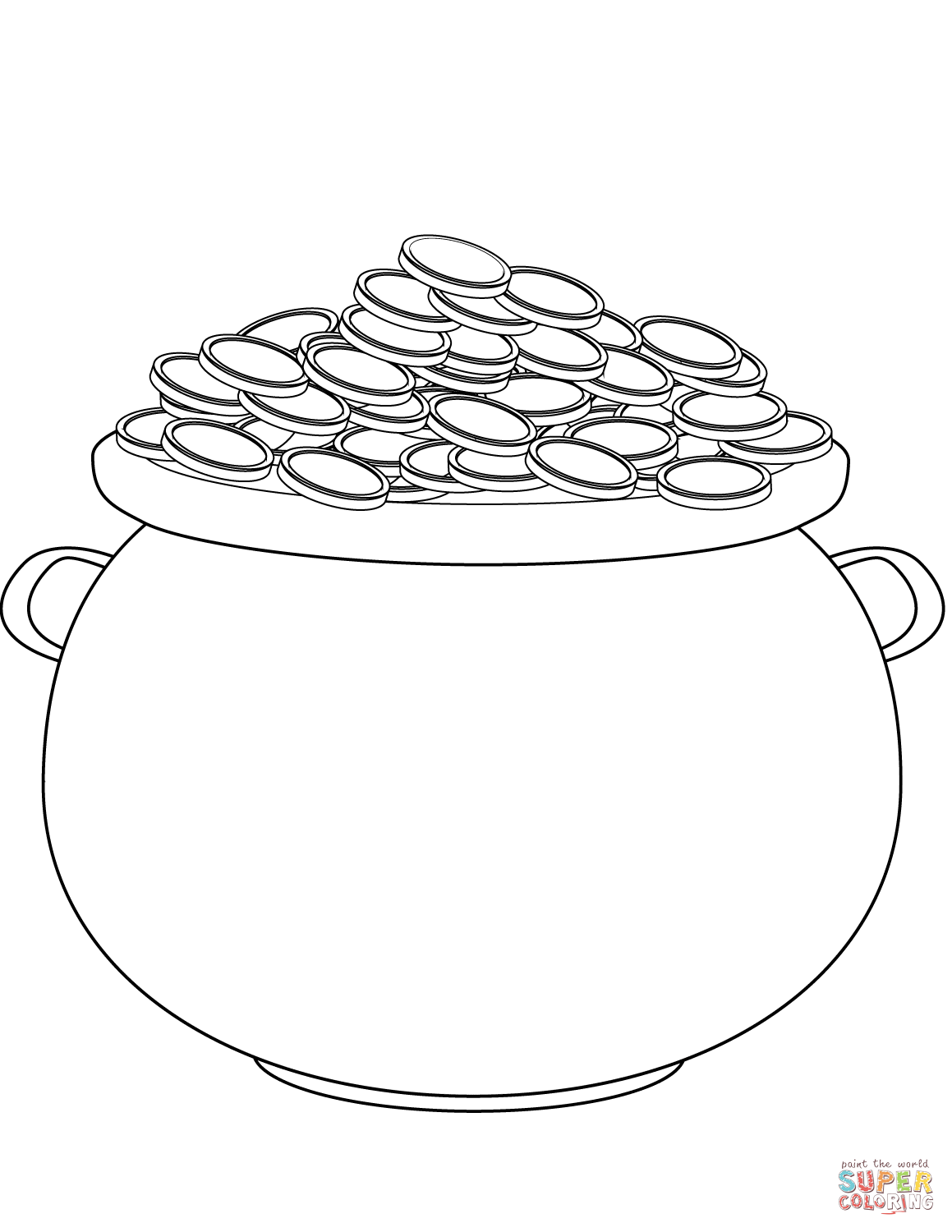 Saint Patrick S Day Pot Of Gold Coloring Page