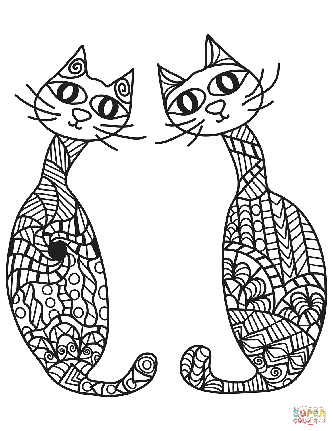 Two Cats In Zentangle Style Coloring Page