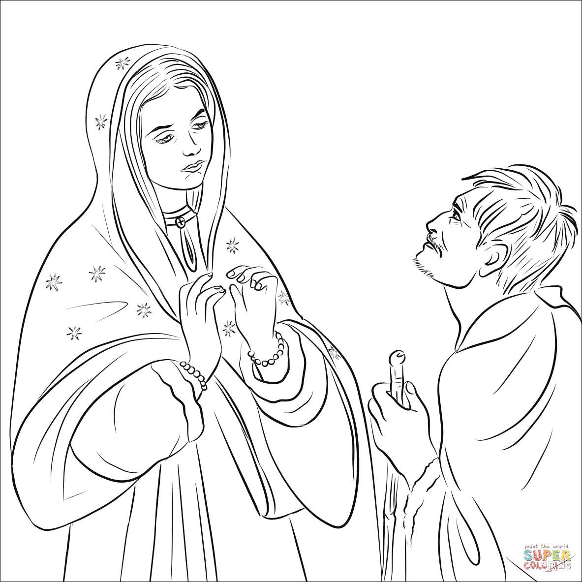 Virgin Mary And Juango Coloring Page