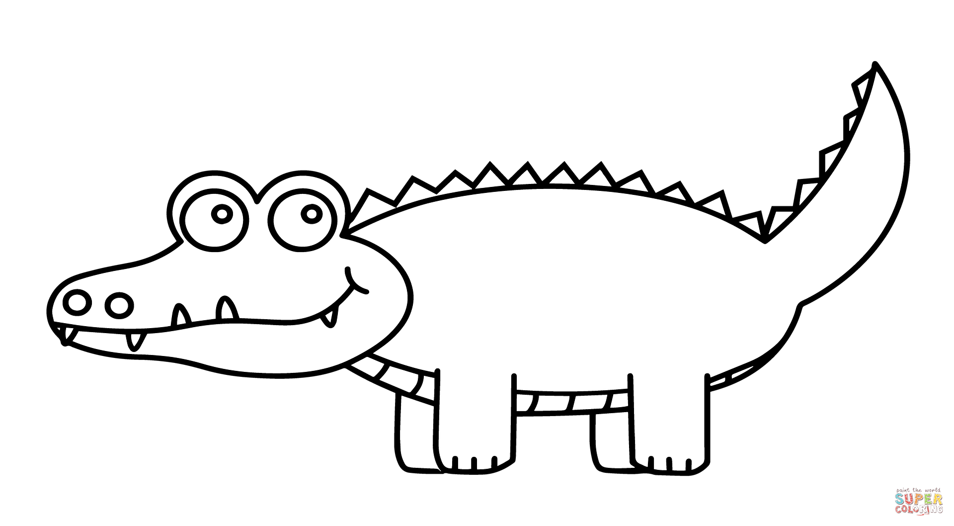 Cute Cartoon Alligator Coloring Page