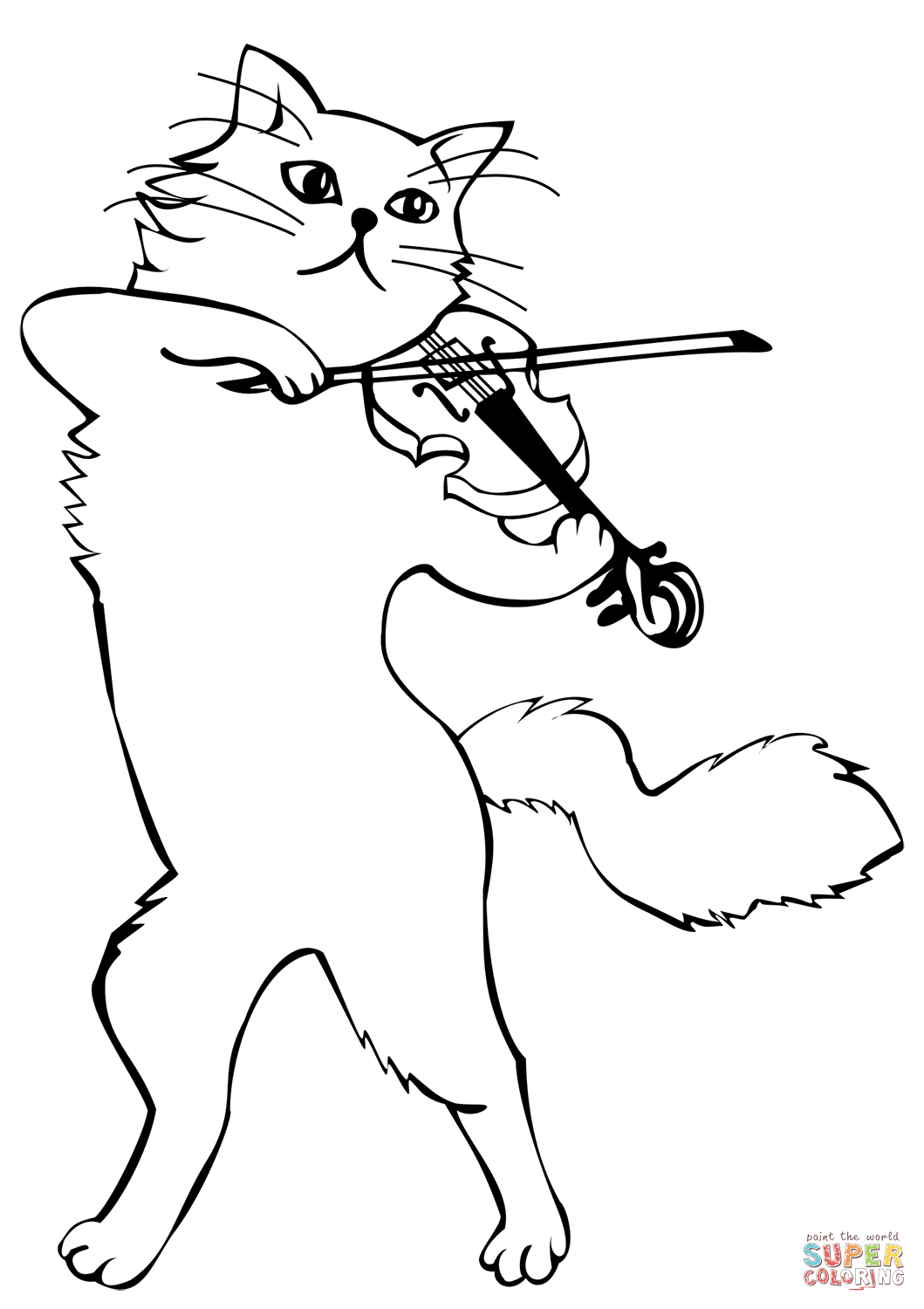 Cat Playing A Violin Coloring Page