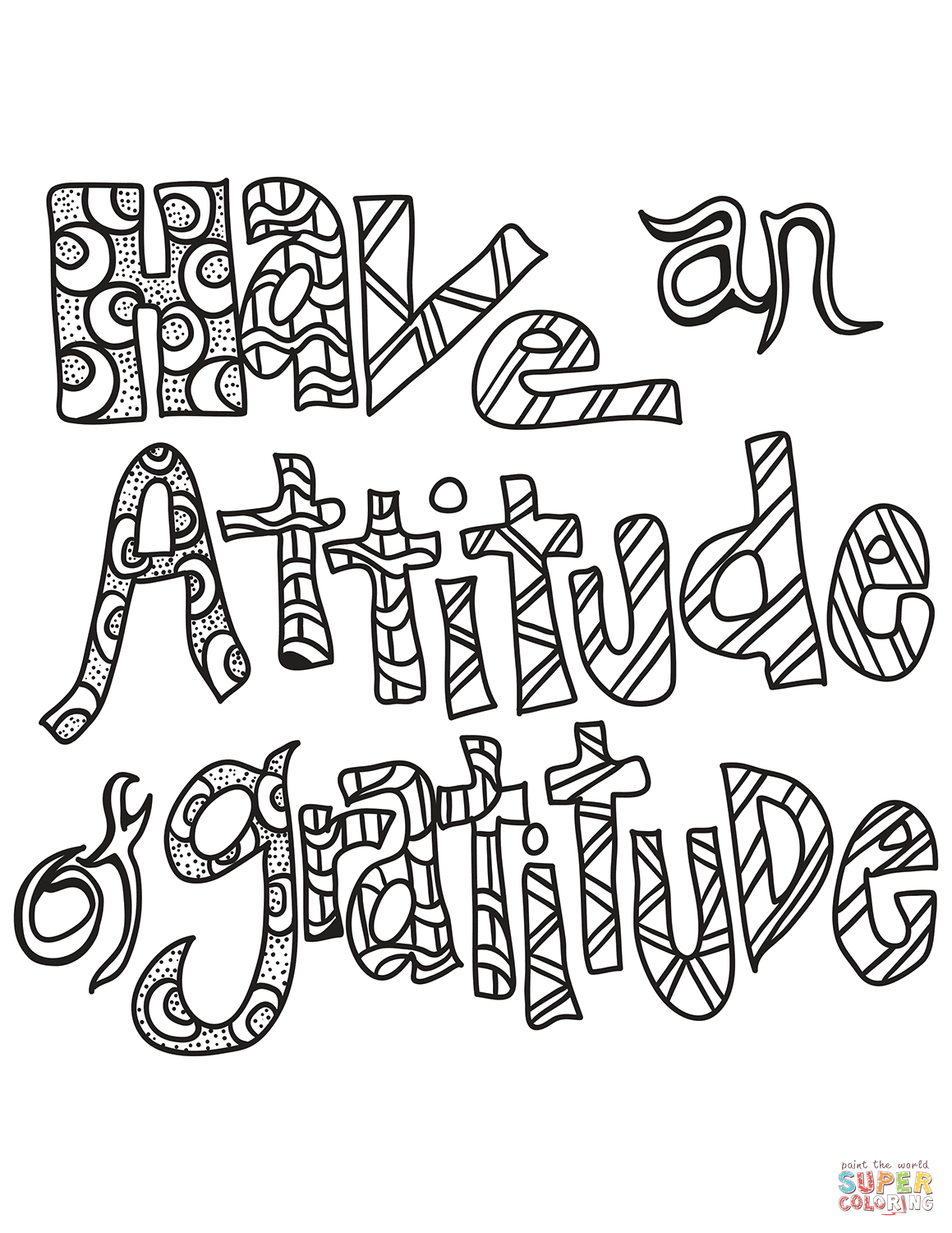 Have An Attitude Of Gratitude Coloring Page