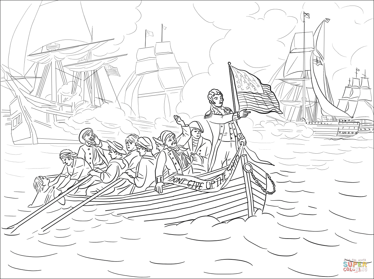 Battle Of Lake Erie During The War Of Coloring Page