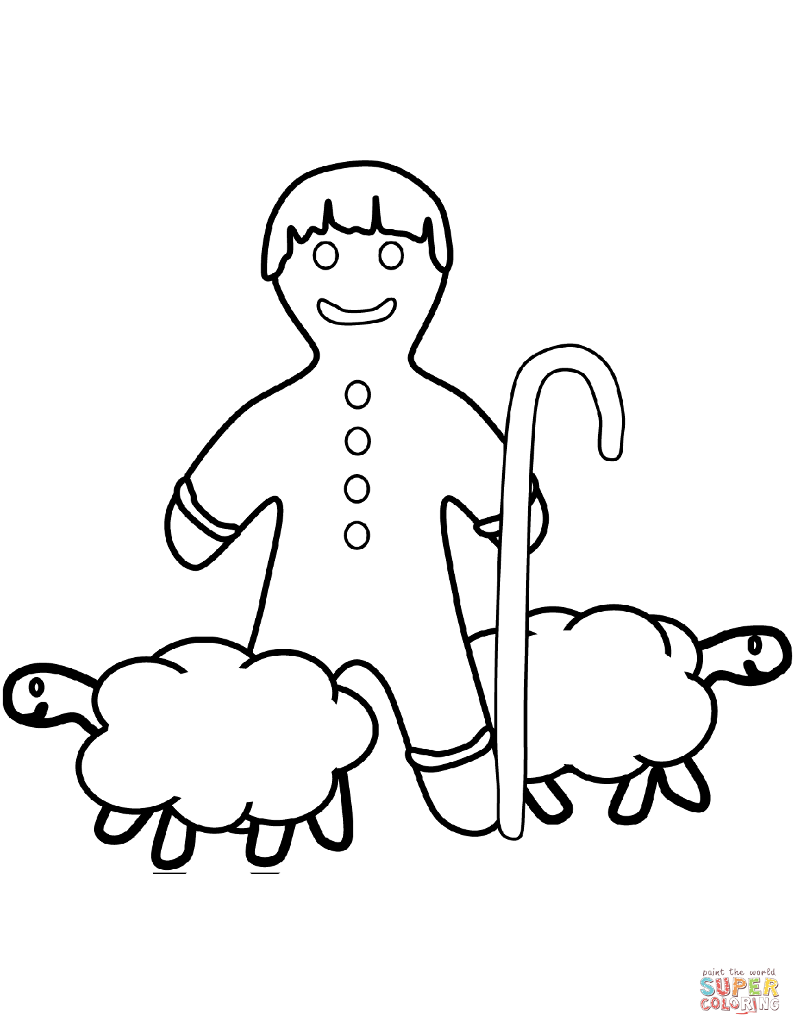 Gingerbread Man Shepherd Coloring Page