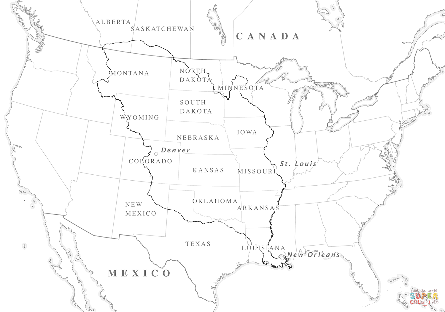 Louisiana Purchase Map Coloring Page