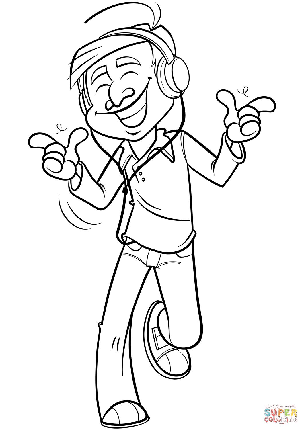 Man Listening To Music Coloring Page