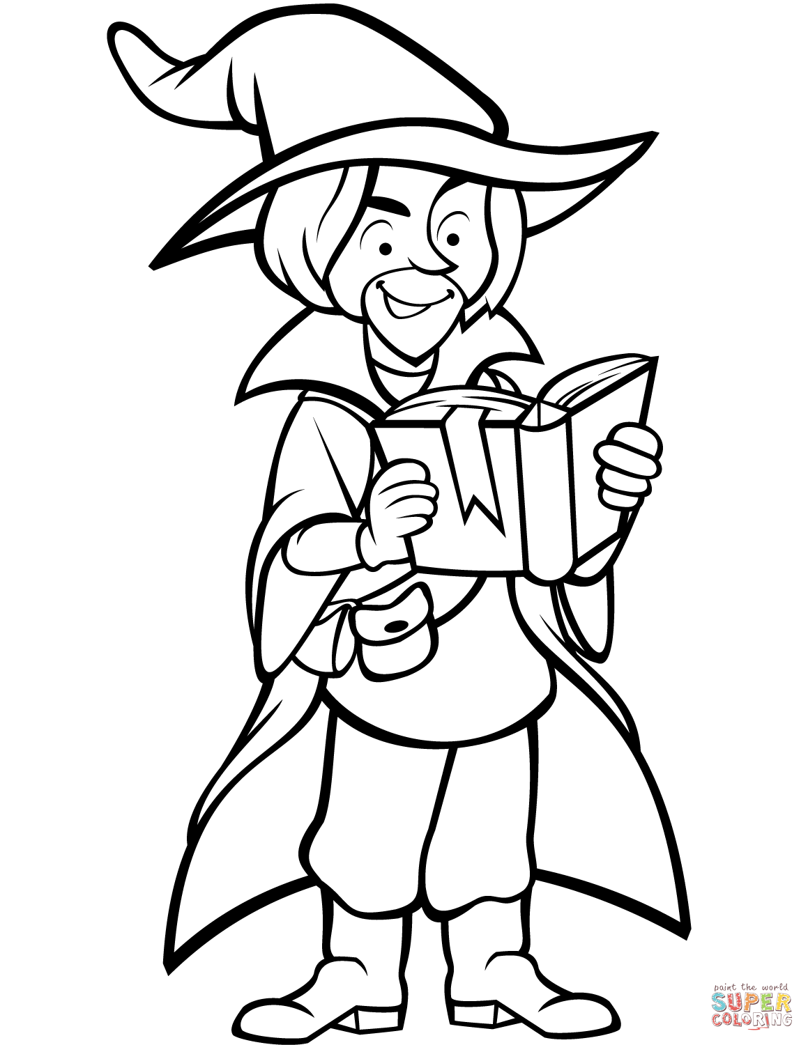 Wizard With Book Coloring Page