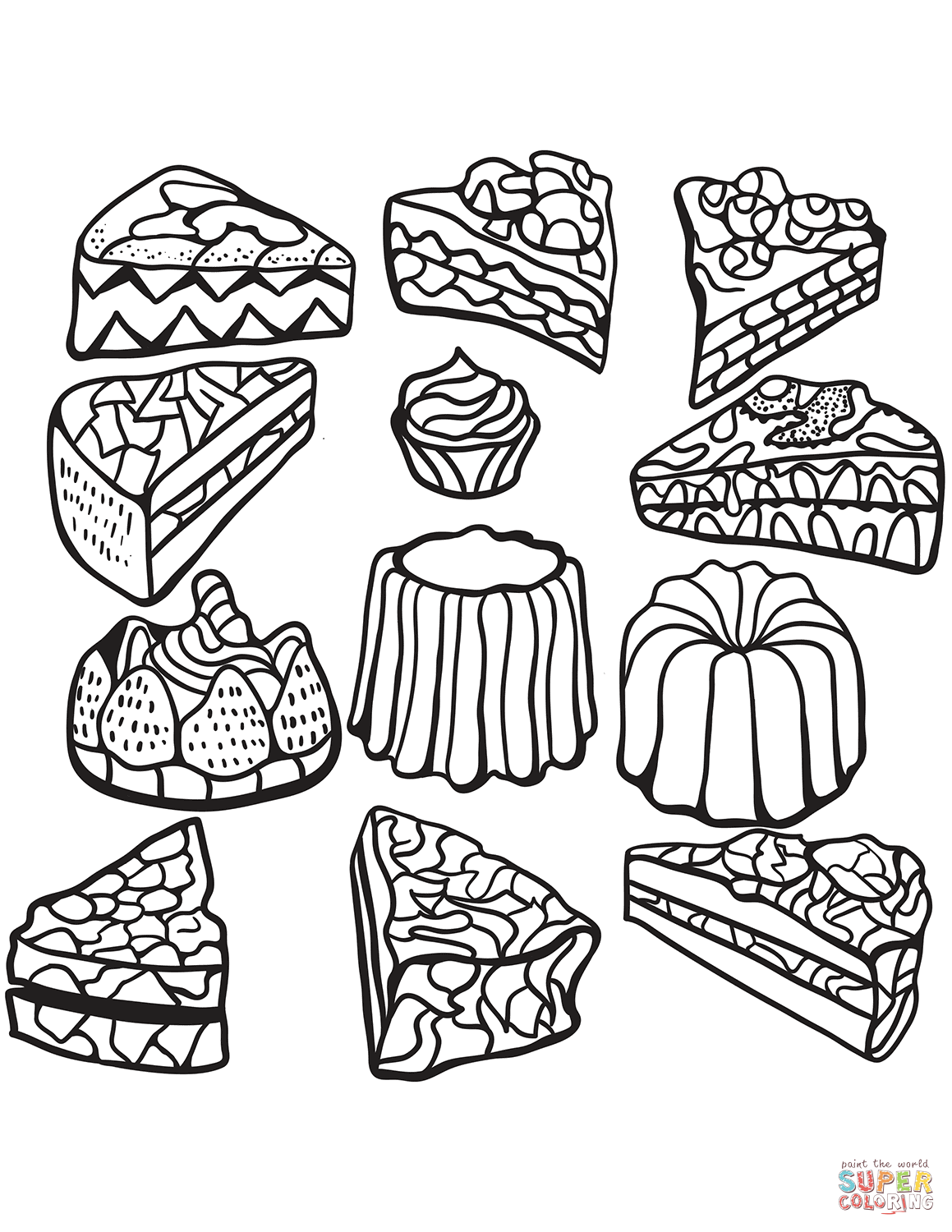 Zentangle Cakes Coloring Page