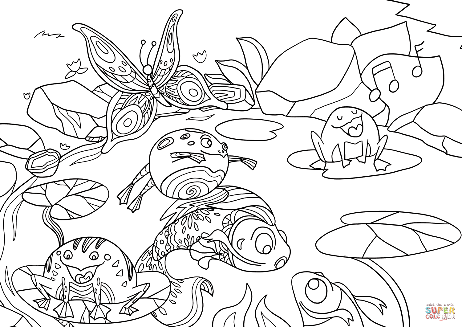 Life In A Pond Coloring Page