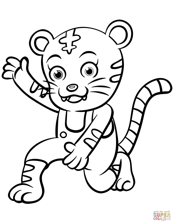 Cartoon Tiger Coloring Page
