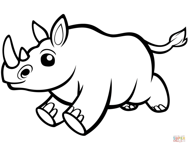 Cute Baby Rhino coloring page  Free Printable Coloring Pages