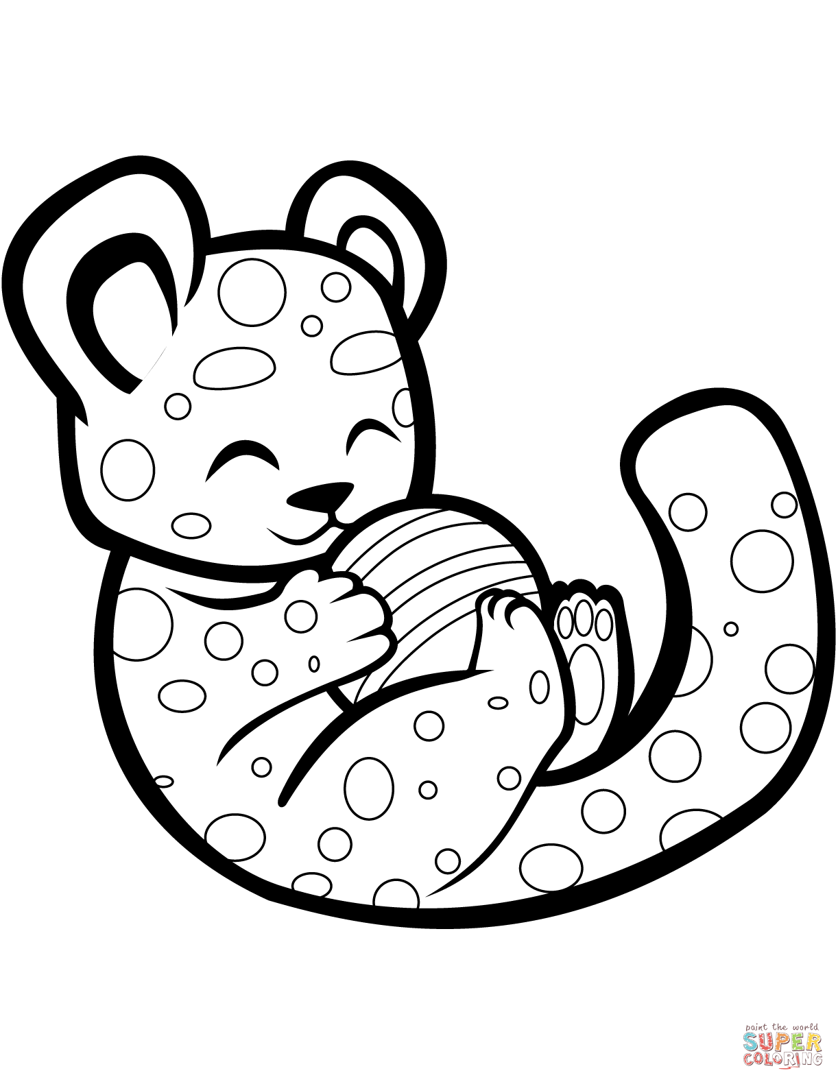 Cute Cheetah Playing With A Ball Coloring Page