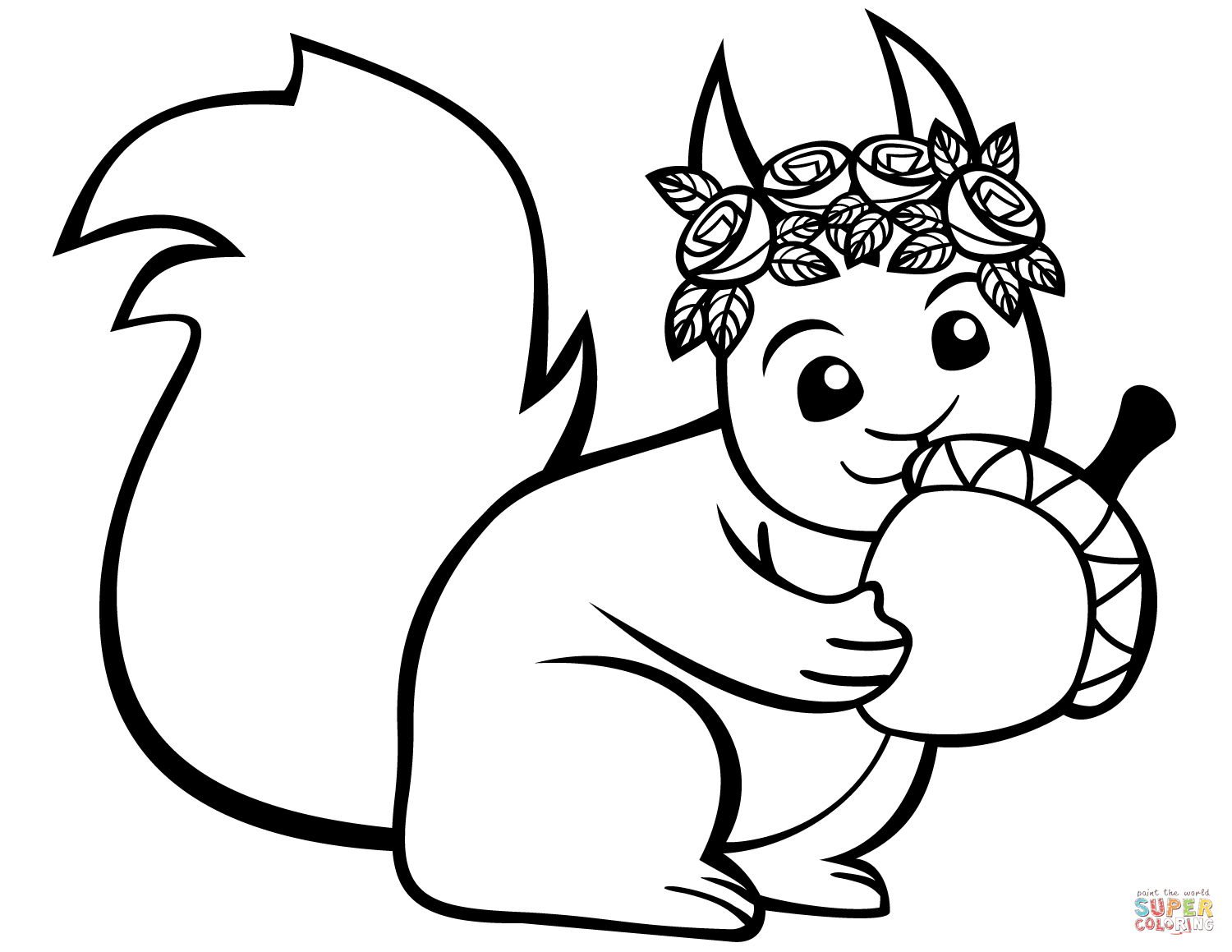 Cute Squirrel With An Acorn Coloring Page