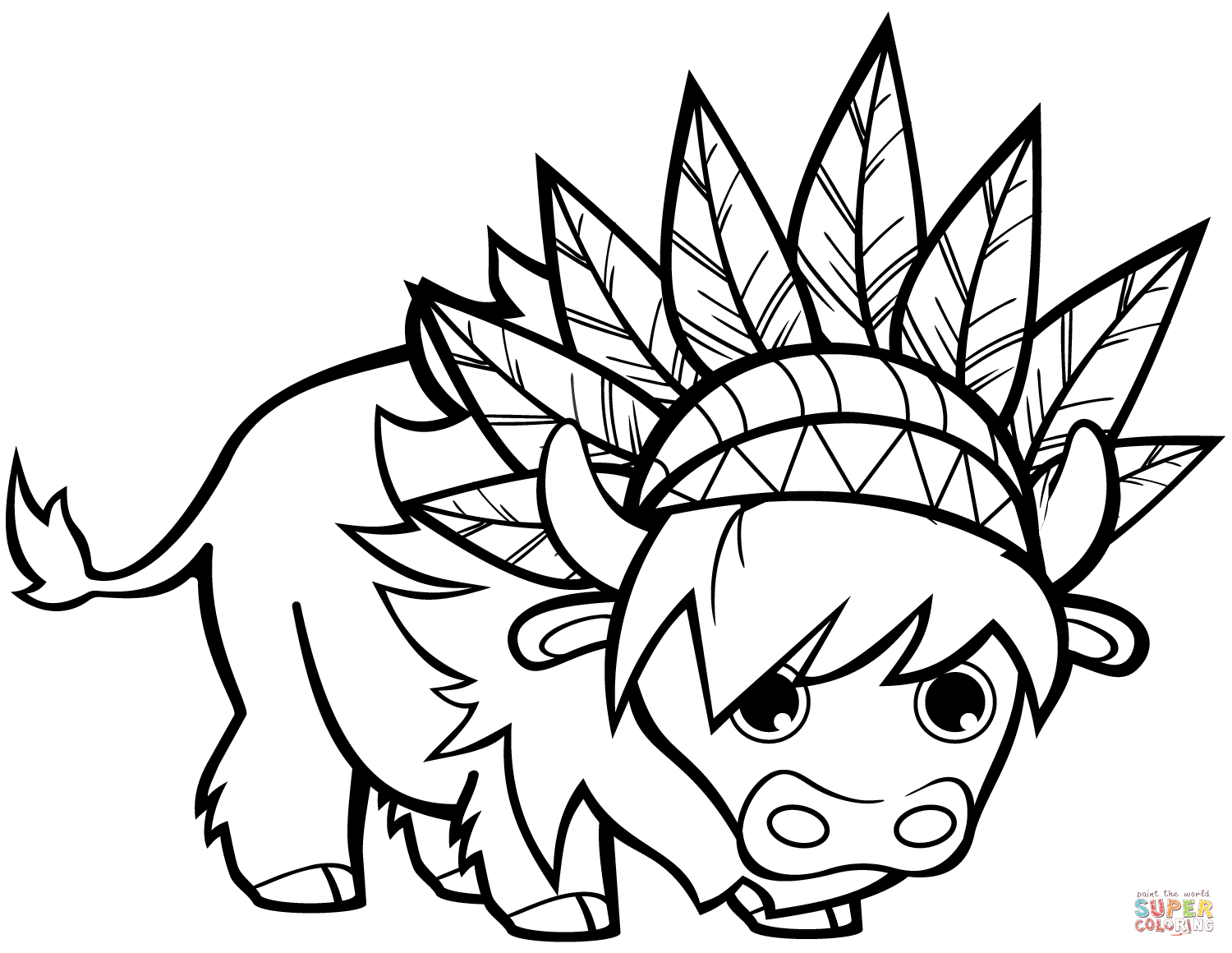 Funny Bull With Chief Headdresses Coloring Page