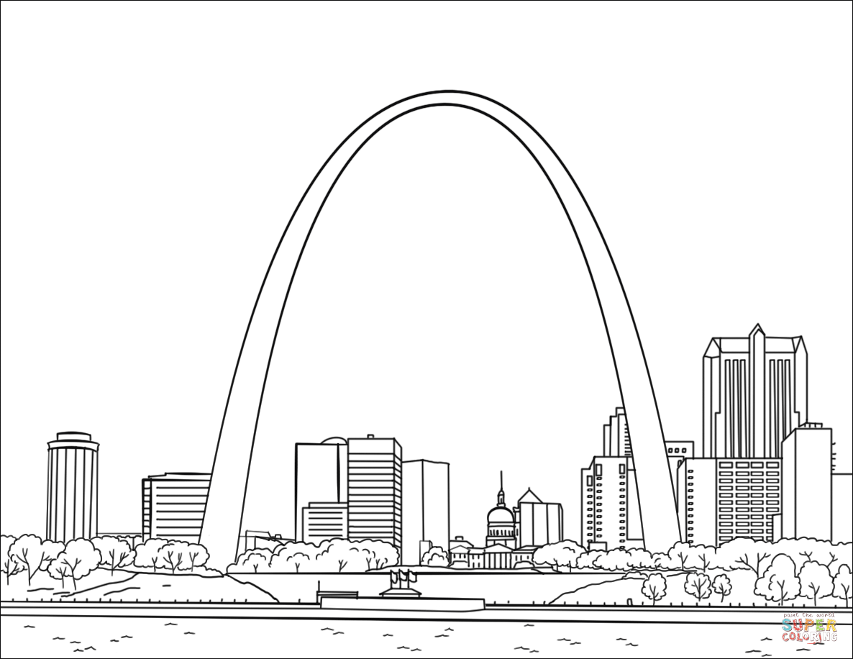 St Louis Gateway Arch Coloring Page