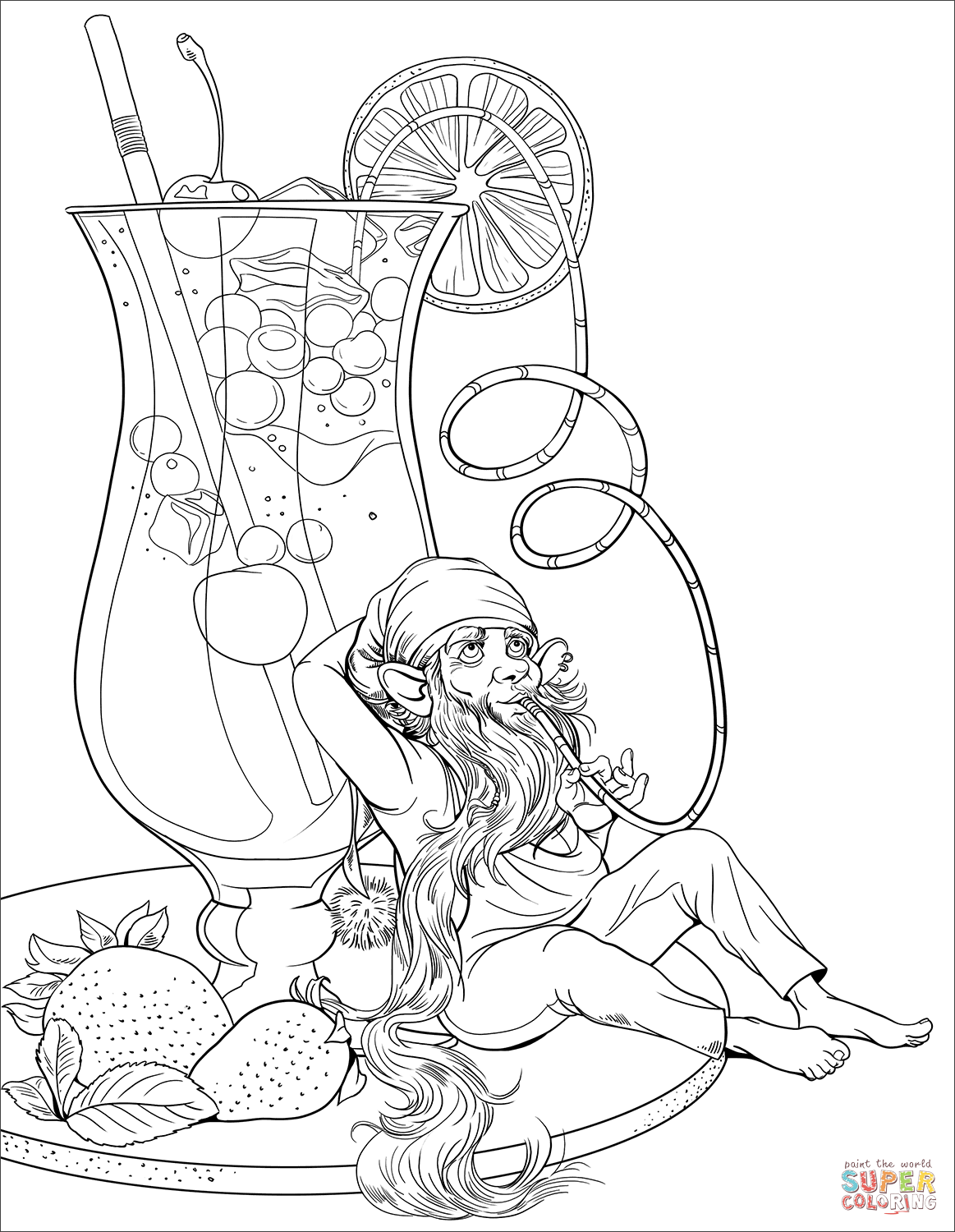 Gnome Is Drinking A Cocktail Coloring Page