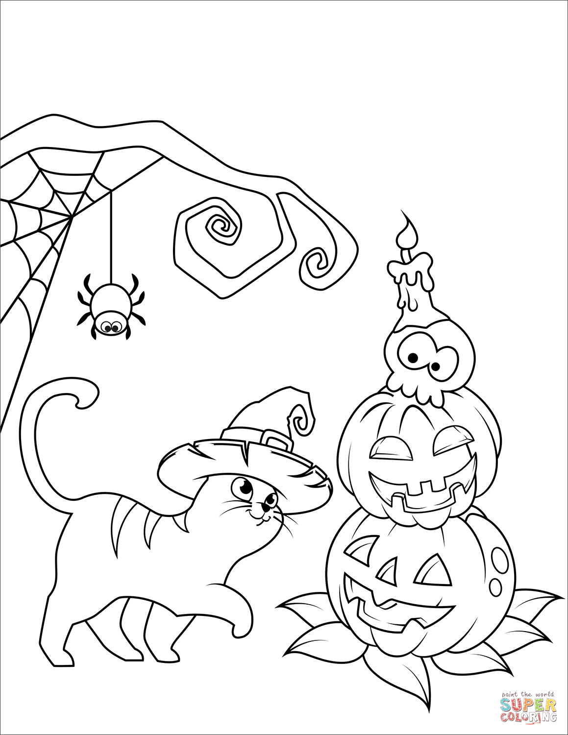Halloween Cat And Jack O Lantern Coloring Page