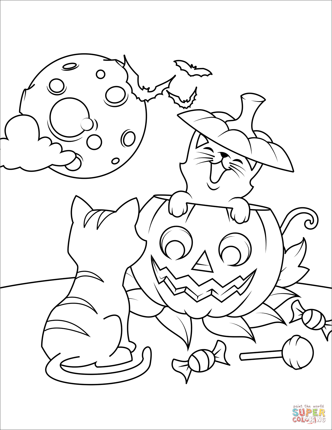 Halloween Cats And Jack O Lantern Coloring Page