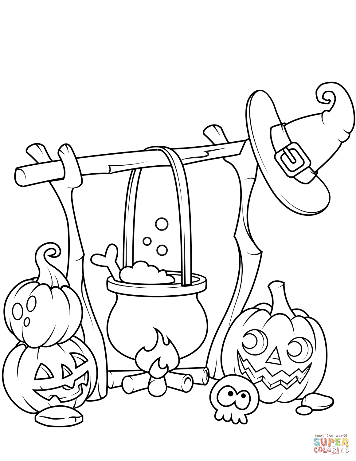 Jack O Lanterns And A Boiling Cauldron Coloring Page