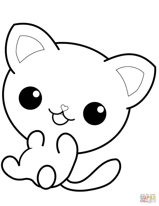 Kawaii Kitty Coloring Page
