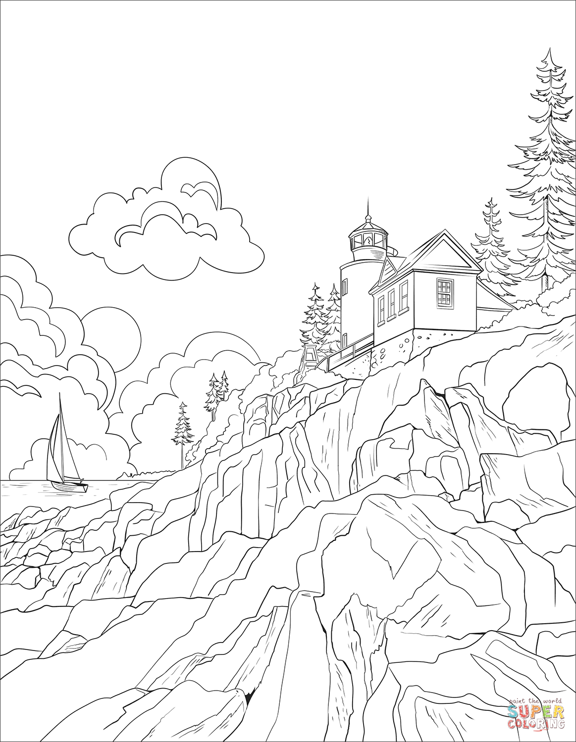 Acadia National Park Coloring Page