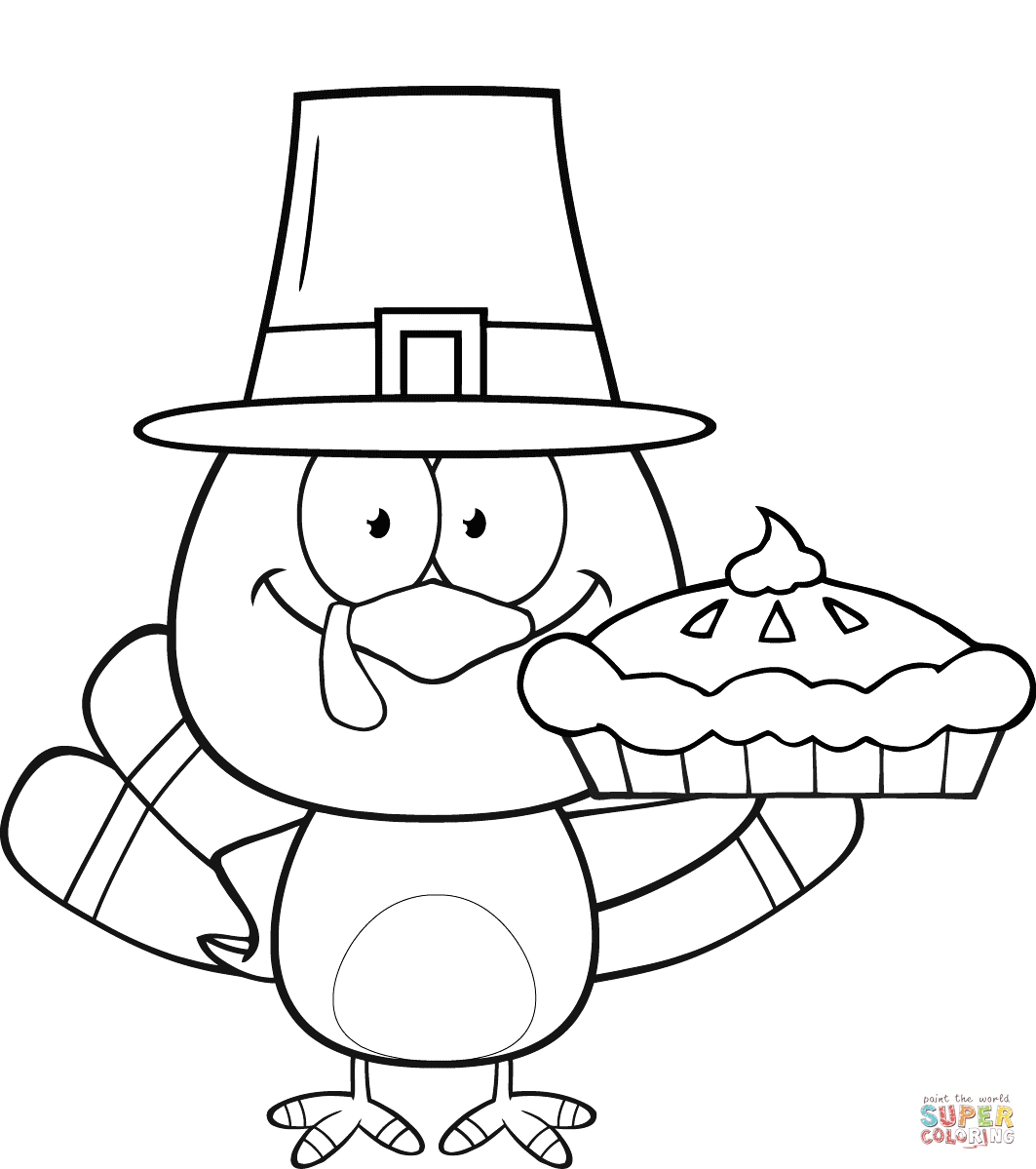 Cute Pilgrim Turkey Holding A Pie Coloring Page