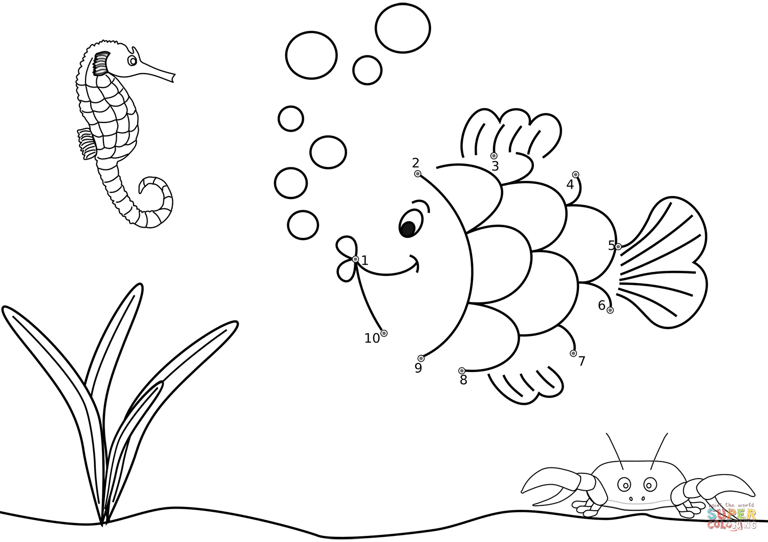 Fish In The Ocean Dot To Dot