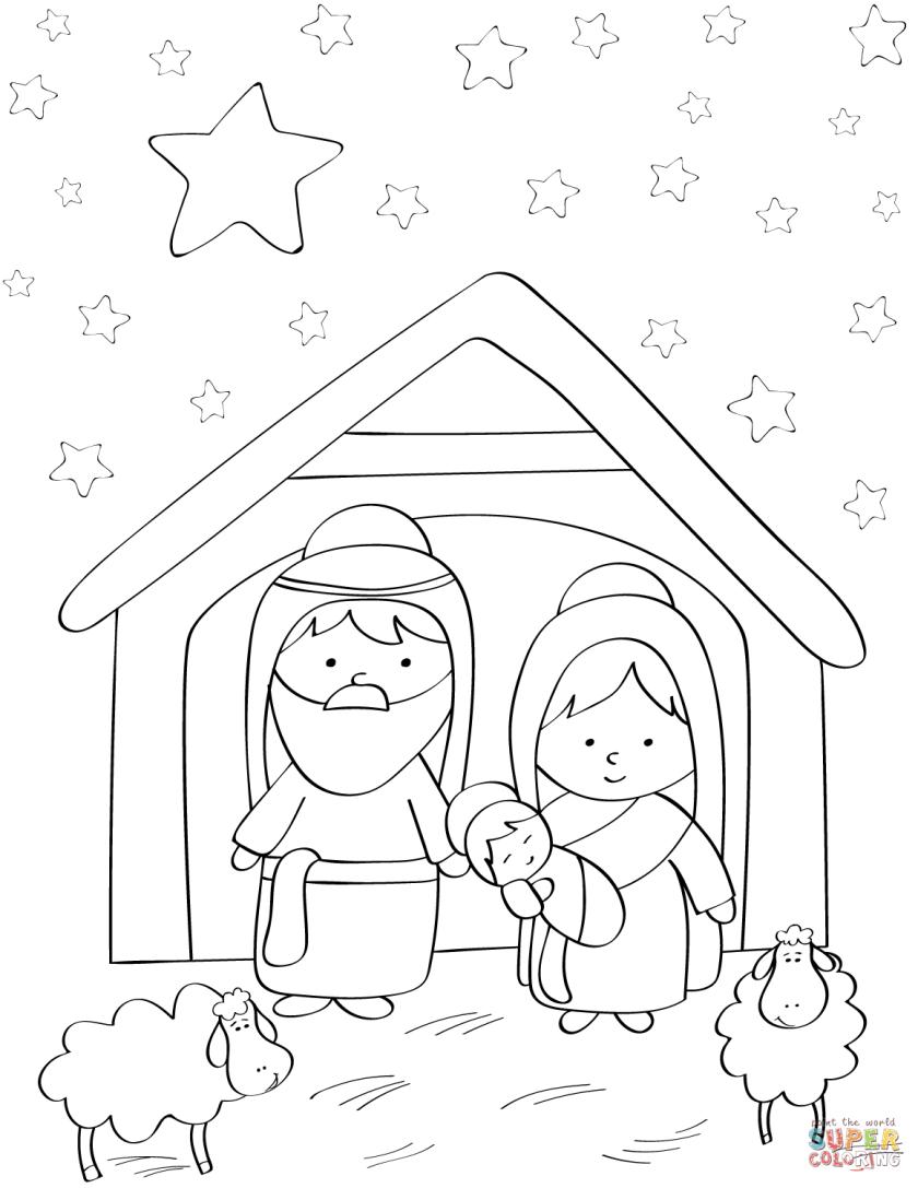 dibujo de maría josé y el niño jesús para colorear