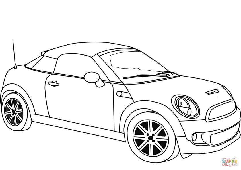 mini cooper coupe coloring page  free printable coloring