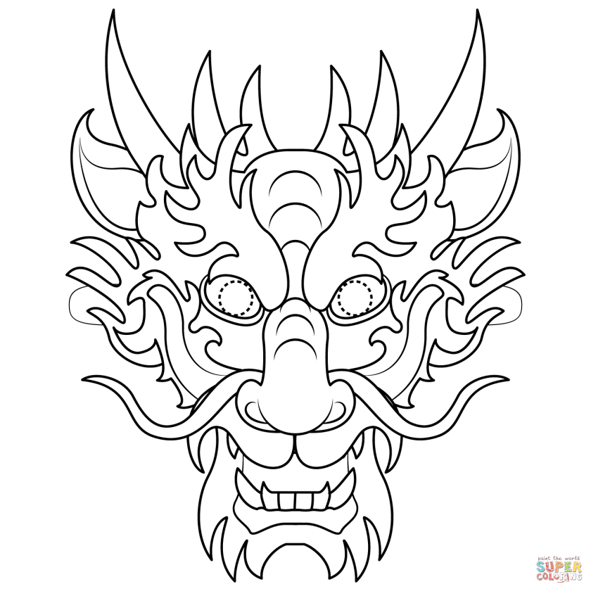 chinese dragon mask coloring page  free printable