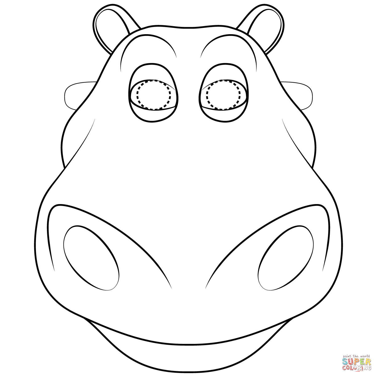 Hippo Mask Coloring Page