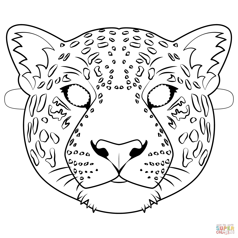 Dibujo De Mascara De Jaguar Para Colorear