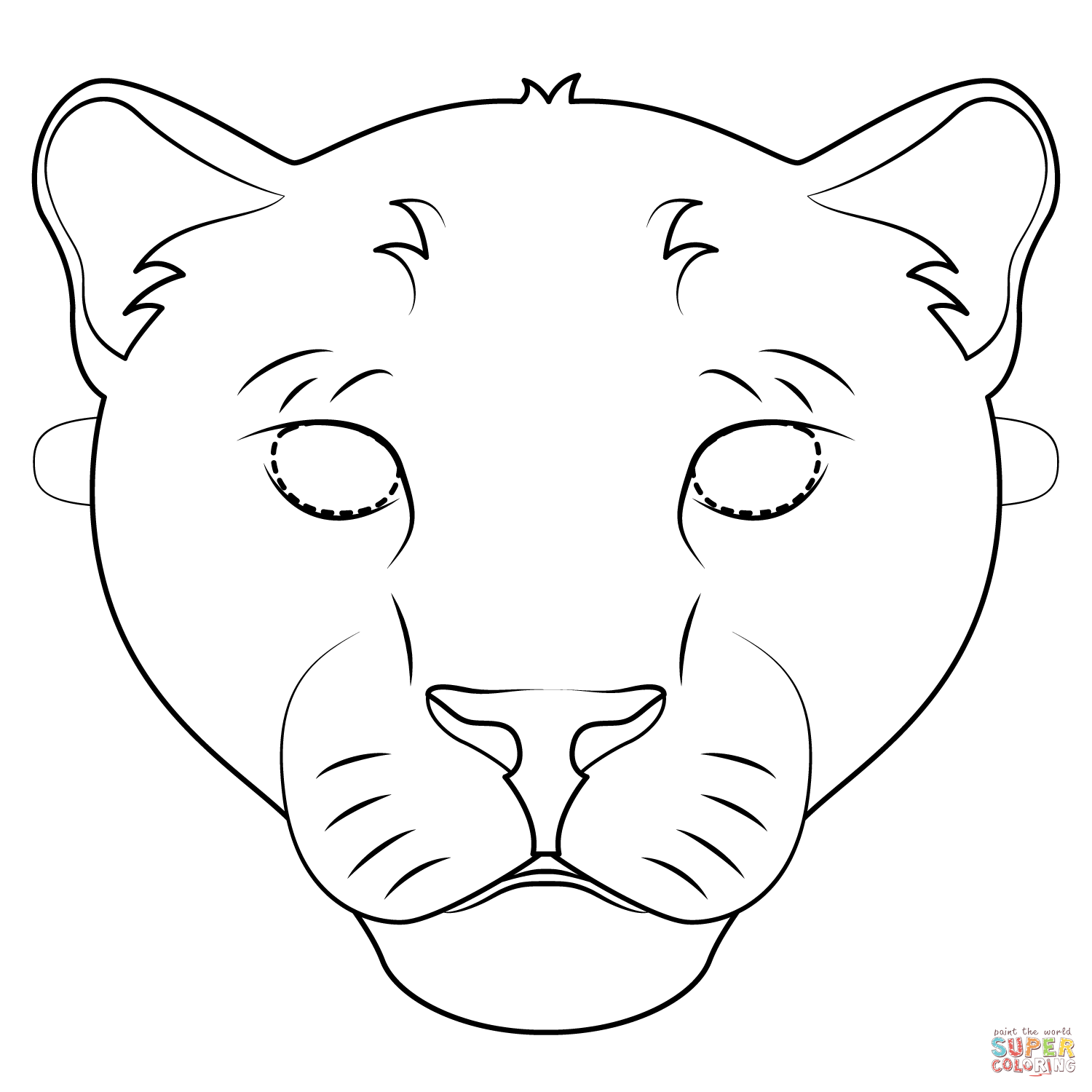 Panther Mask Coloring Page