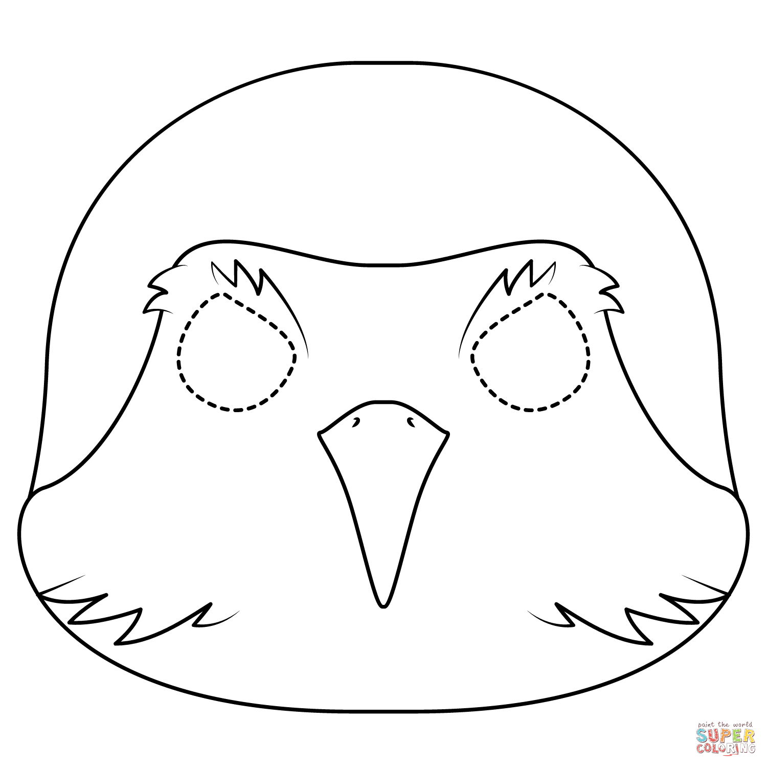 Robin Bird Mask Coloring Page