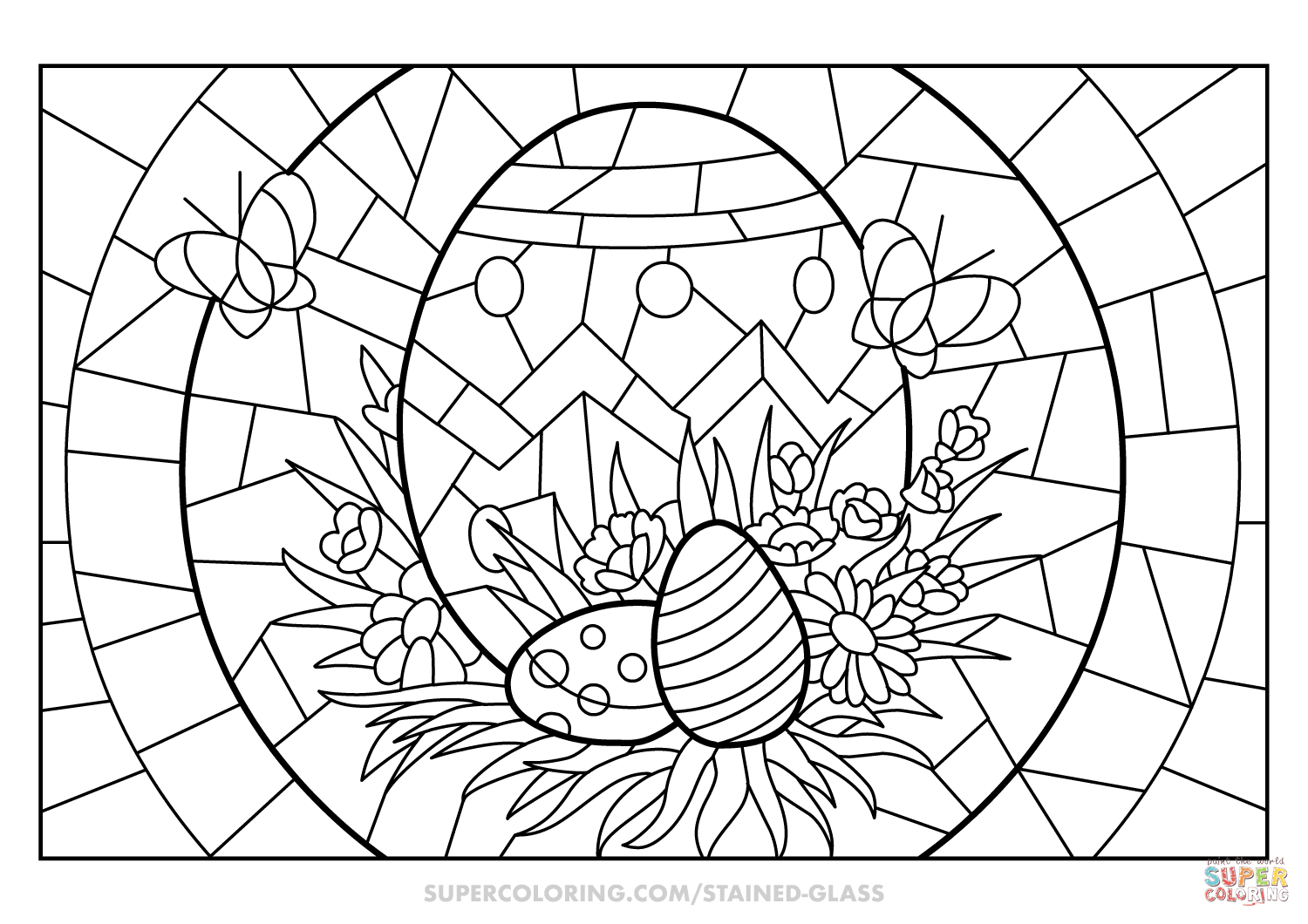 Easter Eggs Stained Glass Coloring Page