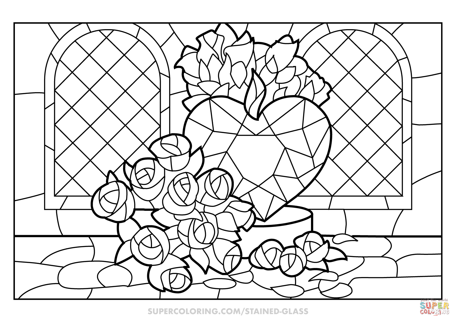 Roses And Heart Stained Glass Coloring Page