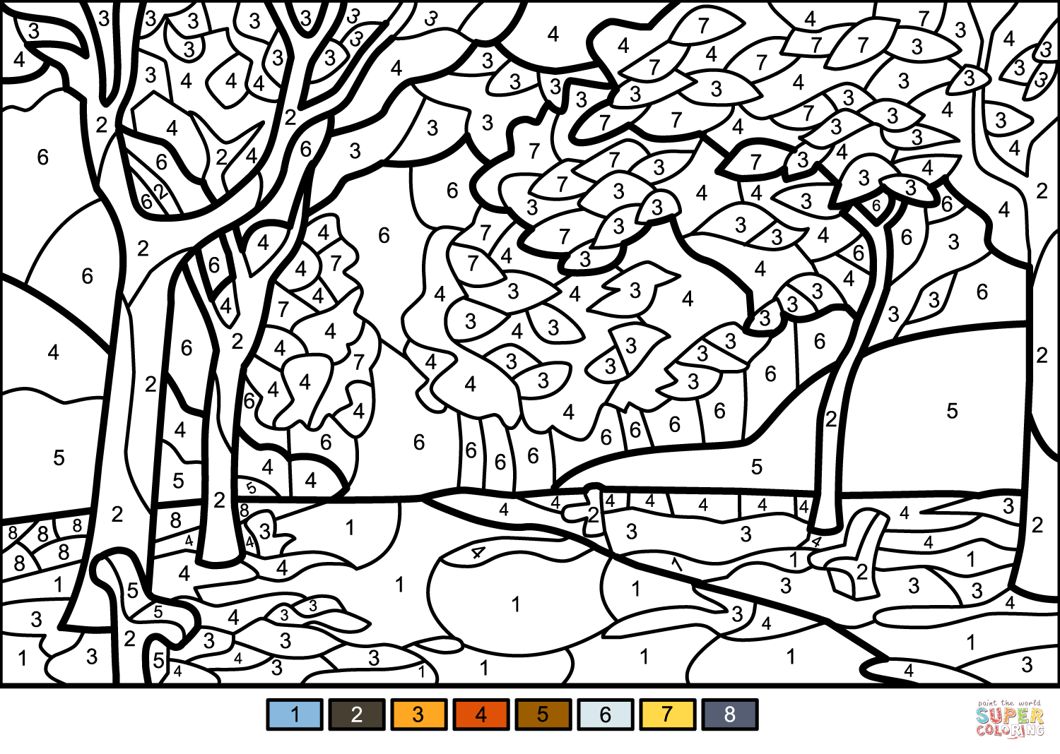 Fall Trees Color By Number