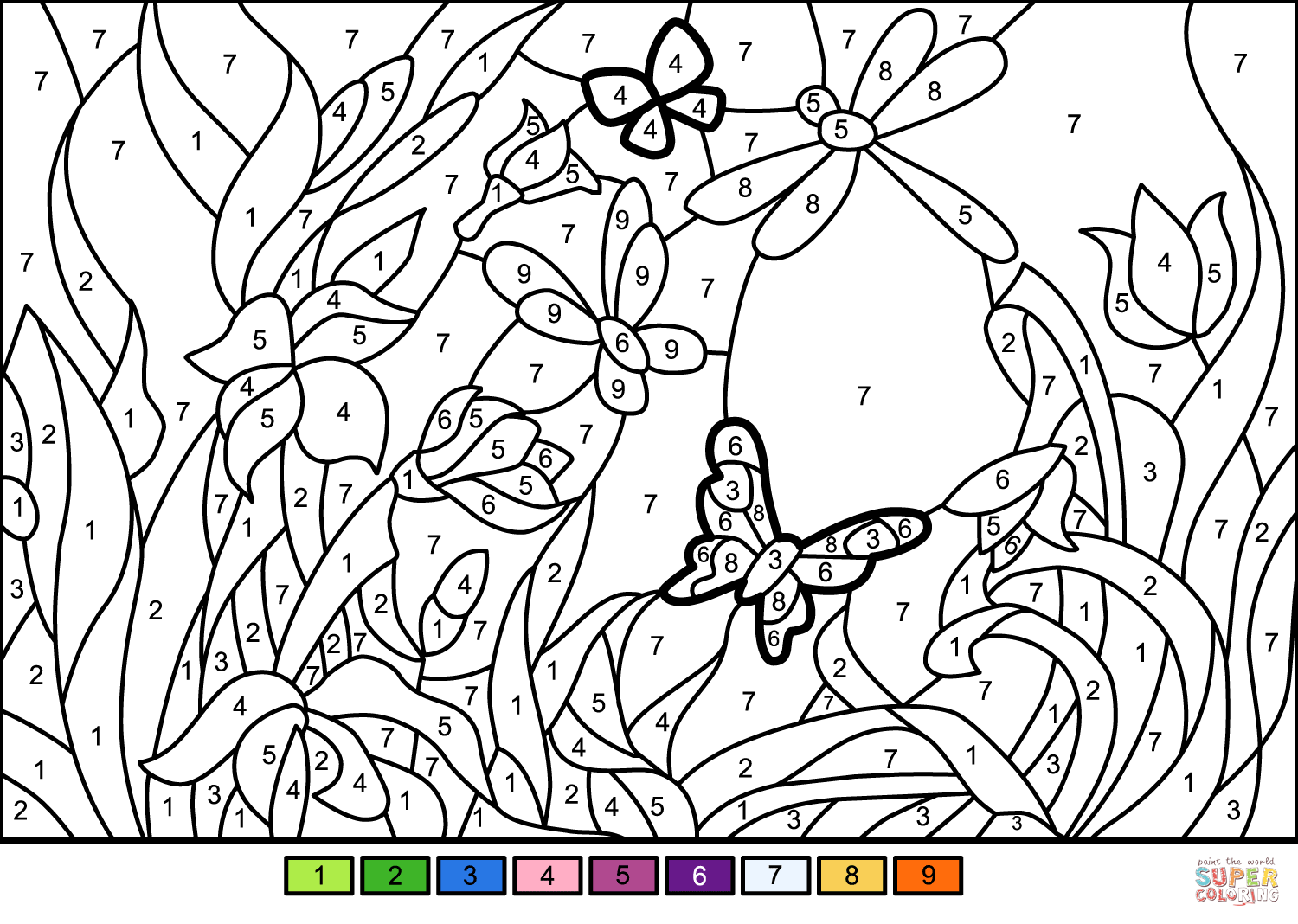 Flower Garden Color By Number
