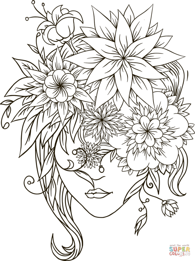 Flower Head Girl coloring page  Free Printable Coloring Pages