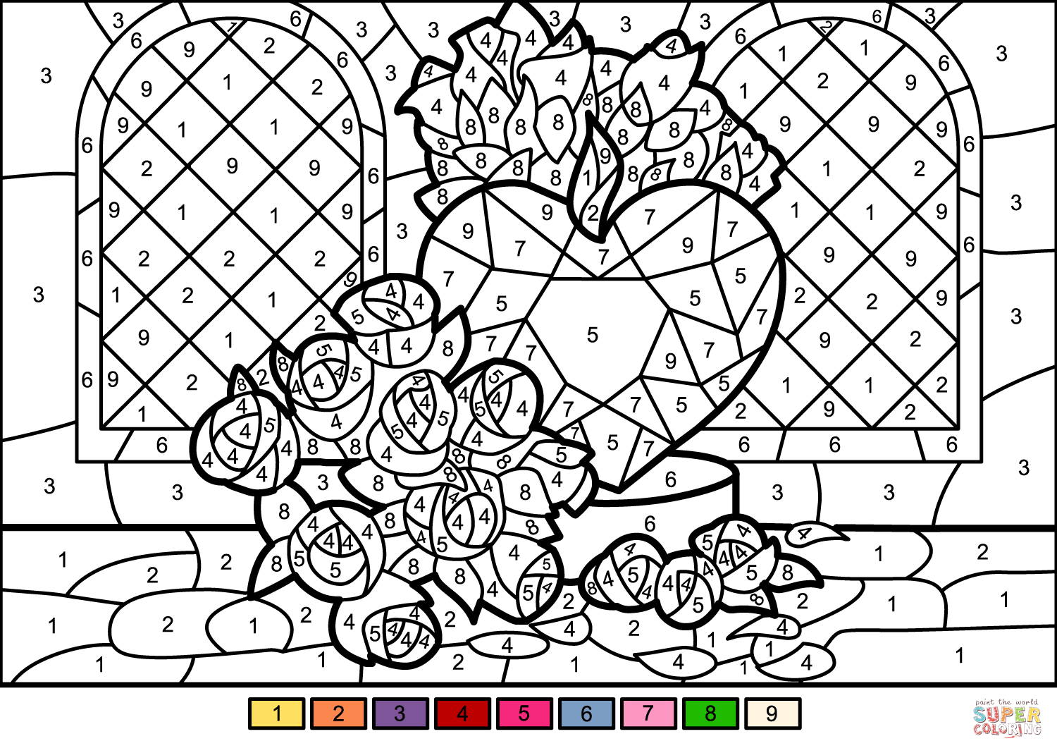 Summer Hard Color By Number Coloring Pages