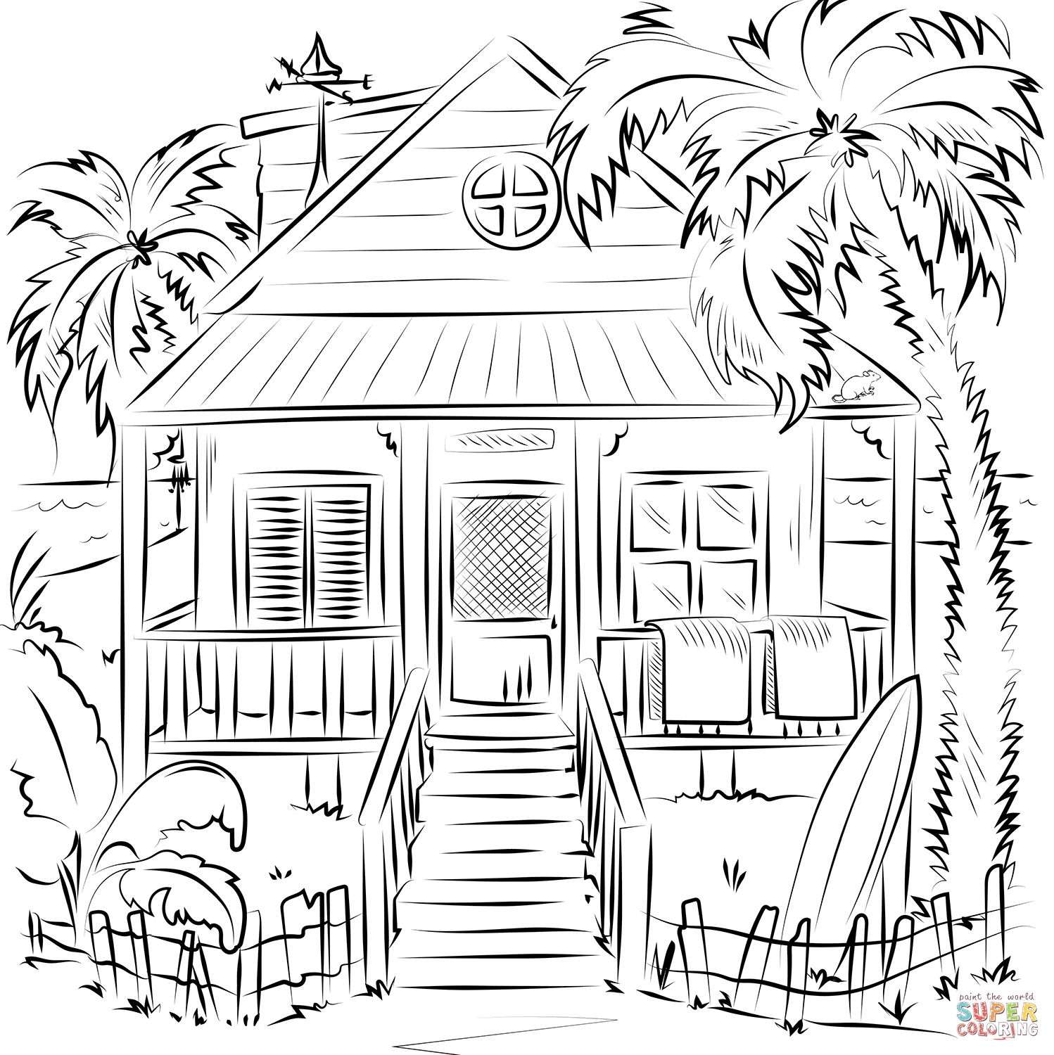 Beach House Coloring Page
