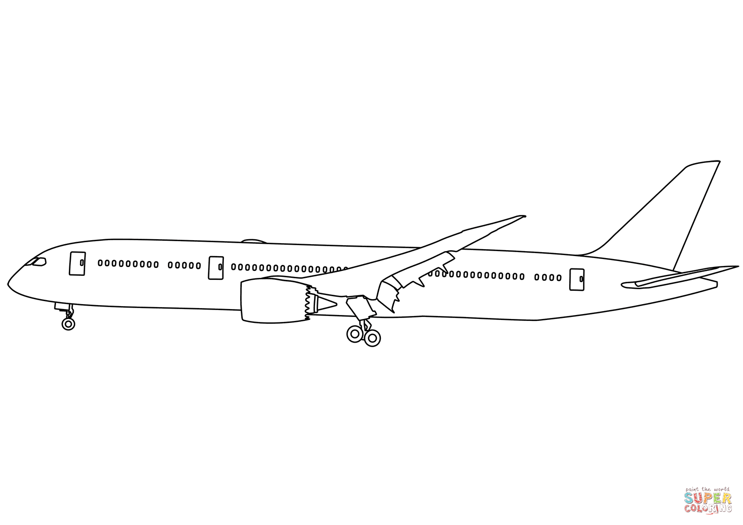 Boeing 787 Dreamliner Coloring Page