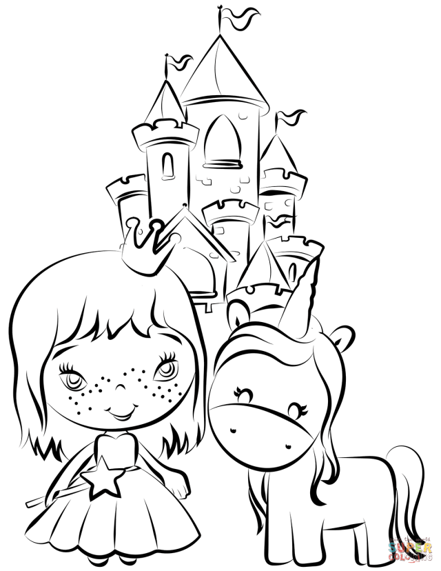 Pincess and Unicorn near Castle coloring page  Free Printable