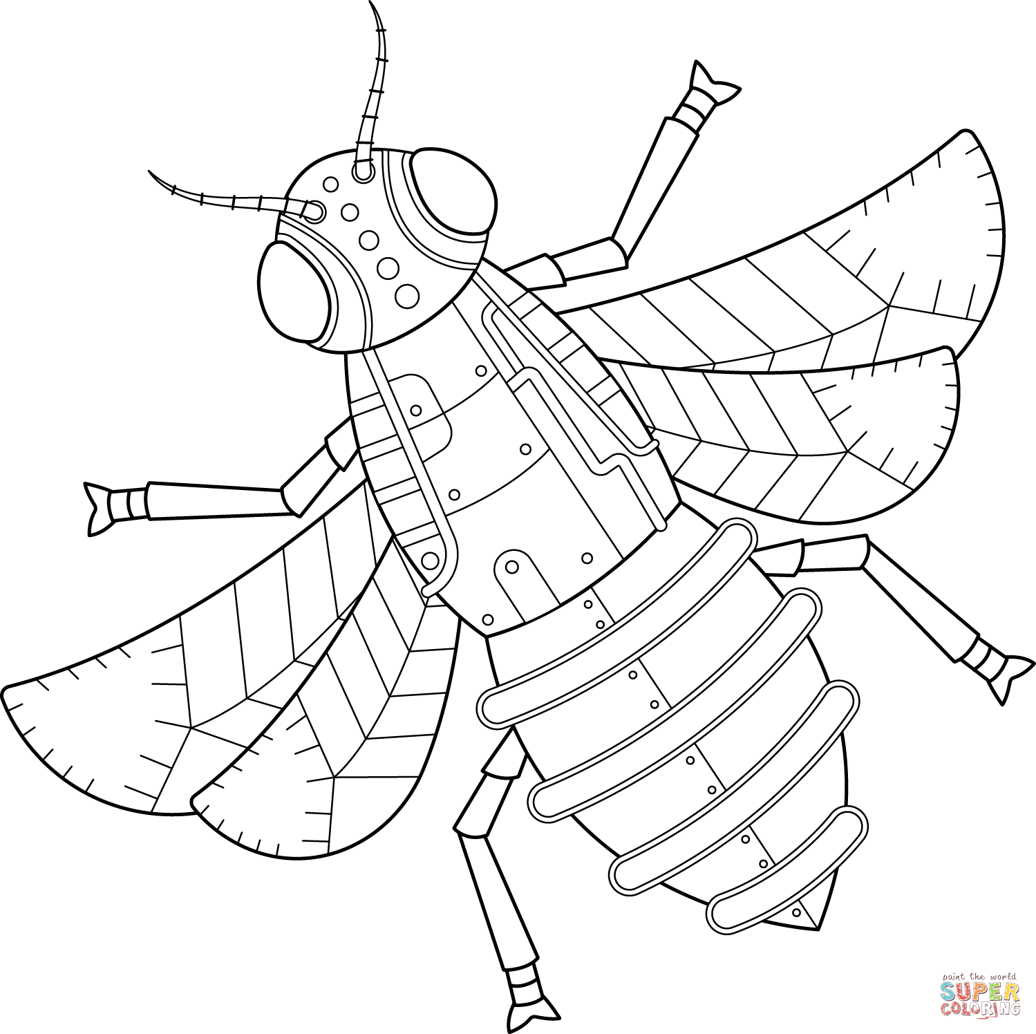 Steampunk Bee Coloring Page