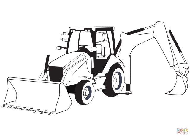 Backhoe Loader coloring page  Free Printable Coloring Pages