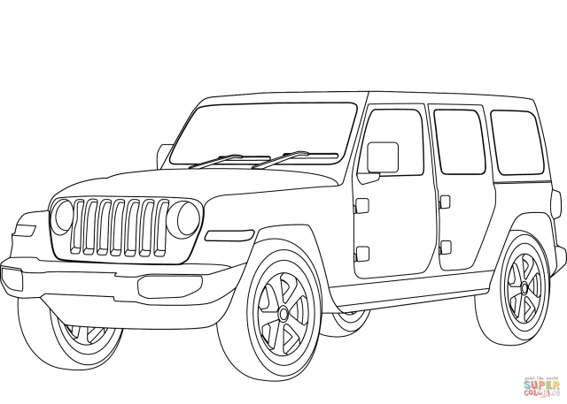 Jeep Wrangler coloring page  Free Printable Coloring Pages