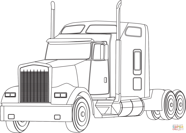 Semi Truck coloring page  Free Printable Coloring Pages