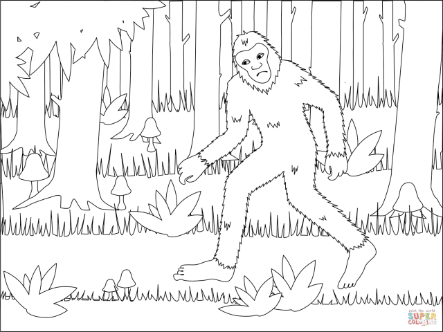 Bigfoot in the Forest coloring page  Free Printable Coloring Pages