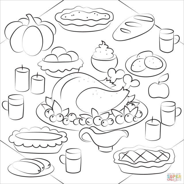 Thanksgiving Dinner with Turkey Dish coloring page  Free