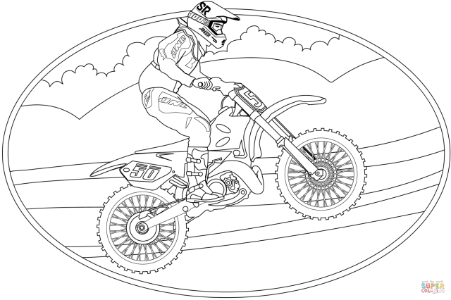 Motocross coloring page  Free Printable Coloring Pages
